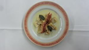 Casoncelli alle pere, Formai de Mut e pancetta croccante